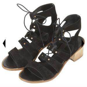 TopShop black lace up sandals 7